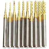 DRILLPRO 10Pcs 0.8 - 3 mm Titanium Coat Carbide End Mill Engraving Bits CNC Rotary Burrs Set Tool PCB Mould Plastic…