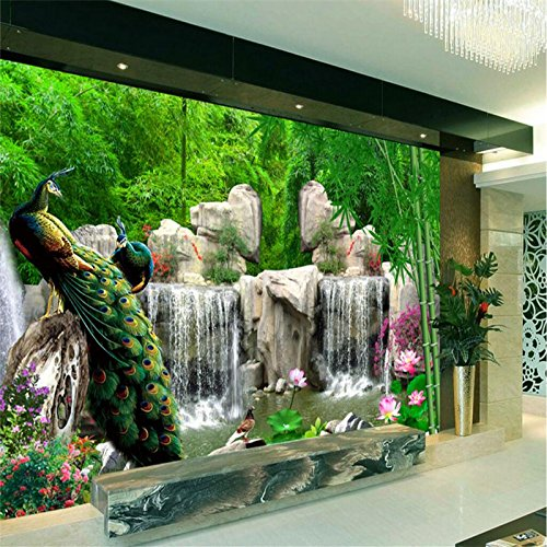 Cheap  Lwcx Photo Wallpaper For Walls 3D Bamboo Grottoes Peacock Tv Background Large..