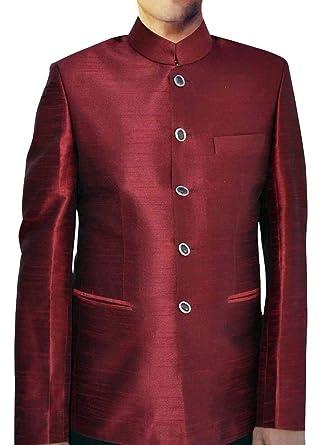 INMONARCH Chaqueta de Nehru roja para Hombre, Traje ...
