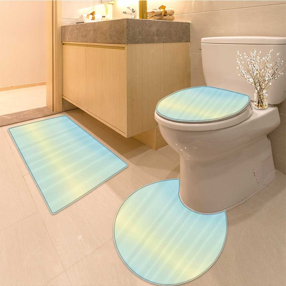 3 Piece Anti-slip mat set Defocused Abstract Design Bright Center Blurred Light Color ating Artwork Baby Blue Non Slip Bathroom Rugs by NALAHOMEQQ