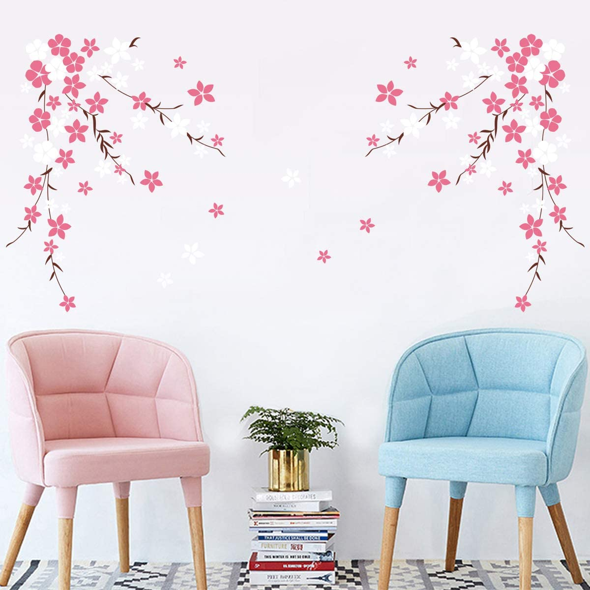 decalmile Pink Cherry Blossom Flower Wall Decals Floral Tree Branch Wall Stickers Bedroom Living Room TV Background Home Decor