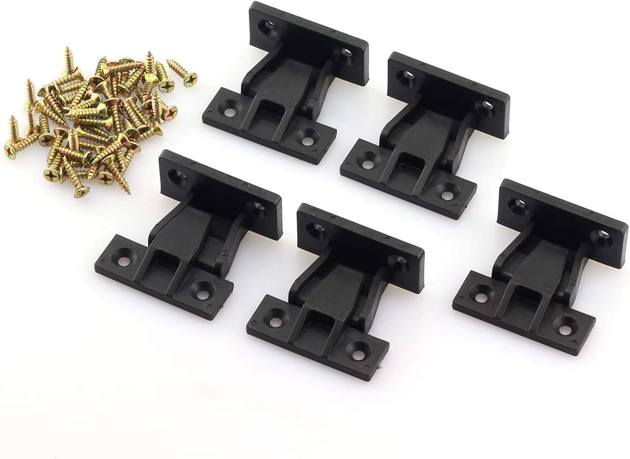 JCBIZ 5pcs Plastic Quick Fitting Furniture Panel Joint Bracket Fast Installation Push-On Clips Corner Buckle for Cabinet Wardrobe Mounting Roman Column Connection Black
