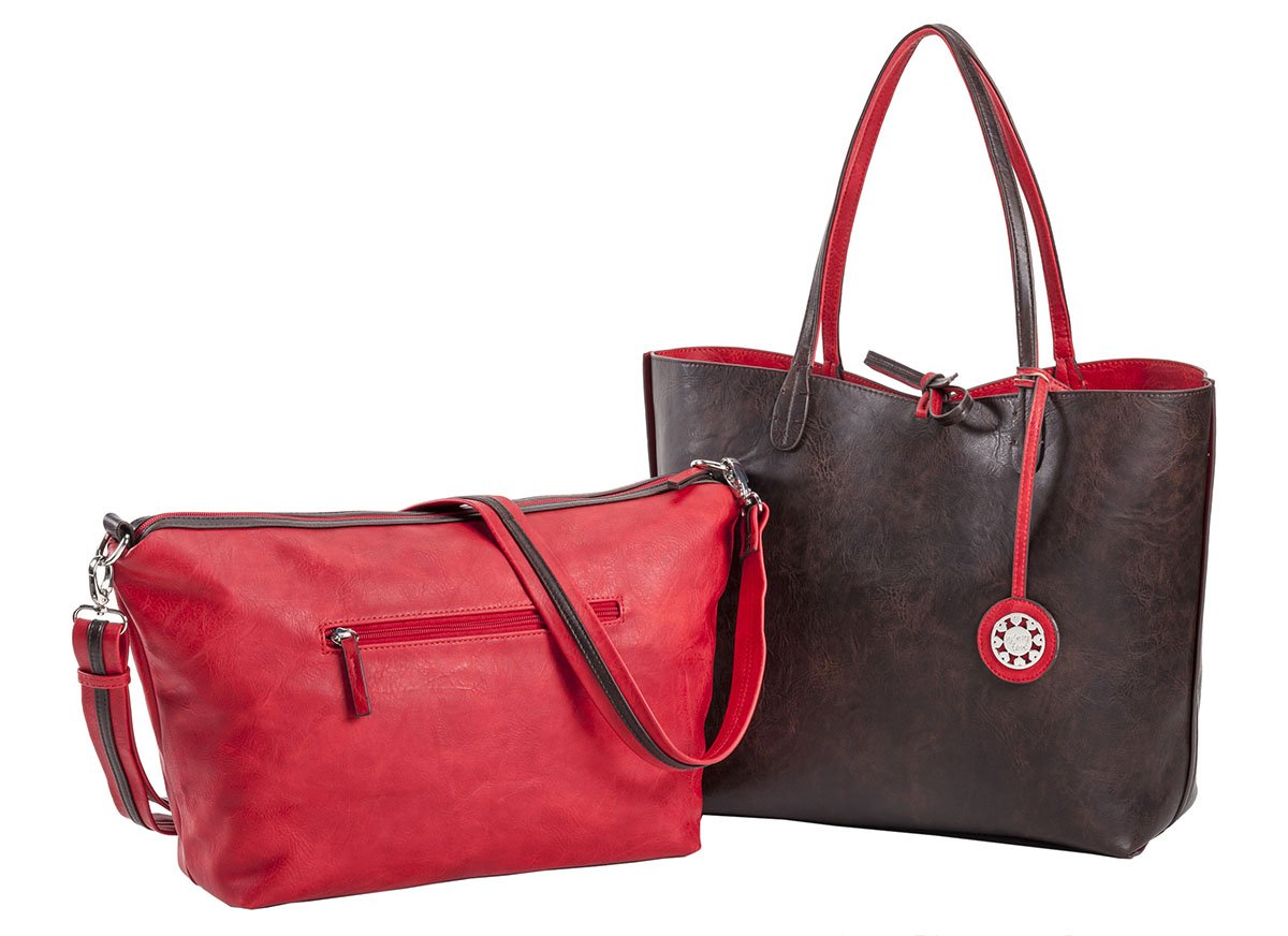Sydney Love Women's Reversible Tote with Inner Cross Body Pouch, Red/Brown, Large