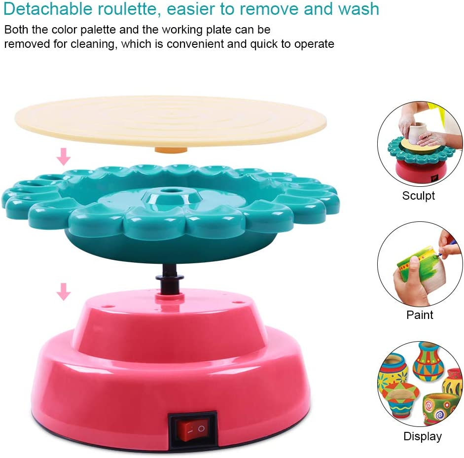 Electric Ceramic Wheel Machine with 2 Clay Mookis Sunflower Pottery Wheel Educational Toys Kids Crafts DIY Air Dry Sculpting Clay and Craft Paint kit for Kids Aged 8 and Up