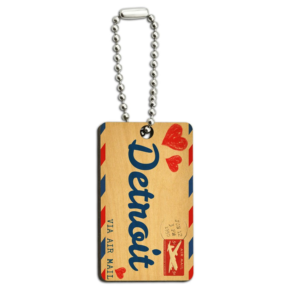 Air Mail Postcard Love for Detroit Wood Wooden Rectangle Key Chain