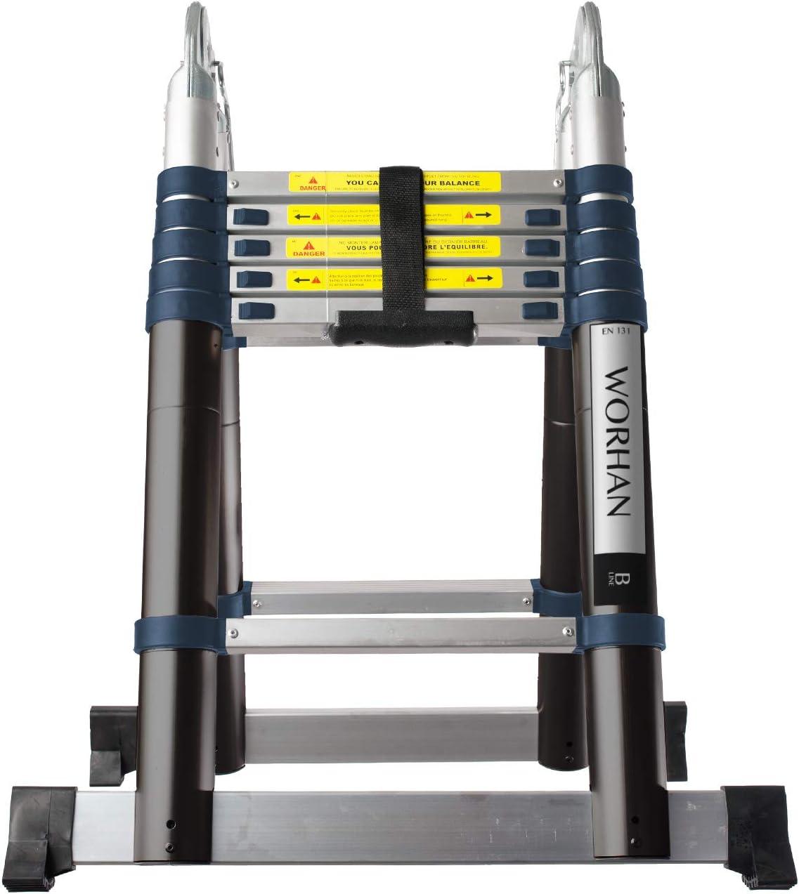 WORHAN® Echelle 3.8m Télescopique Aluminium Anodisé Modulable Pliable Polyvalente Escabeau Solide 380cm (3.8m B Line) K3.8B