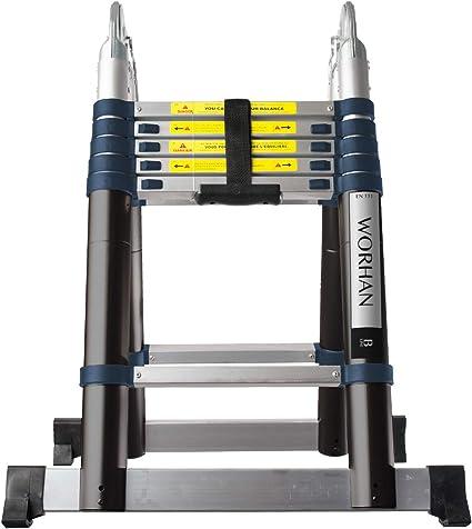 WORHAN/® 3.8m Escalera Doble Telescopica PRO Multiuso Multifuncional Plegable Tijera Aluminio Anodizado Nueva Generaci/ón Calidad Alta 380cm K3.8B