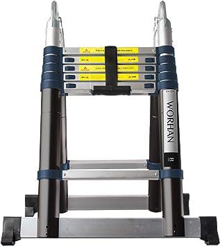 WORHAN® 3.8m Escalera Doble Telescopica PRO Multiuso Multifuncional Plegable Tijera Aluminio Anodizado Nueva Generación Calidad Alta 380cm K3.8B: Amazon.es: Bricolaje y herramientas