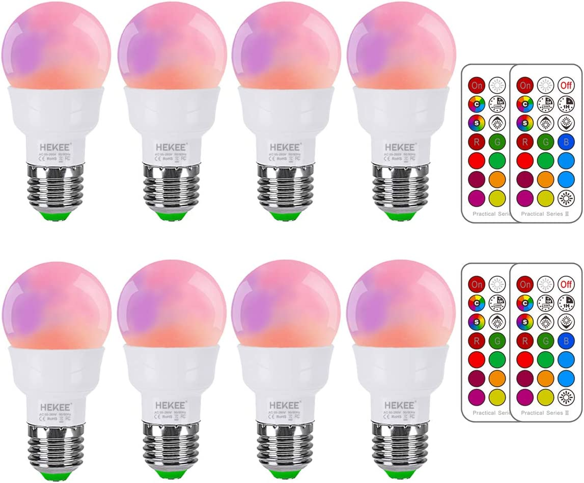 RGB LED Light Bulb, Color Changing Light Bulb, 40W Equivalent, 450LM Dimmable 5W E26 Screw Base RGBW, Mood Light Flood Light Bulb - 12 Color Choices - Timing Infrared Remote Control Included (4 Pack) - -