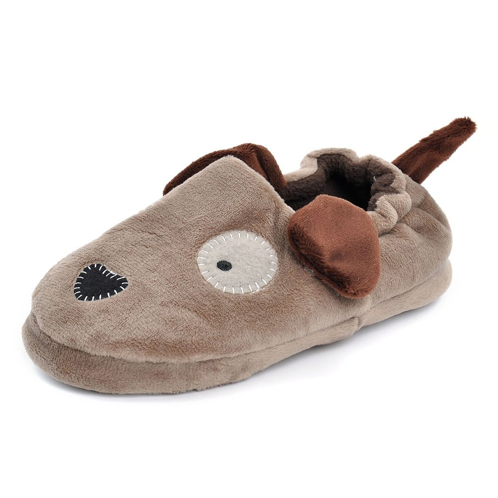 Estamico Toddler Boy's Girl's Rubber Sole Anti-Skid Warm Plush Doggy Slipper Winter House Shoes
