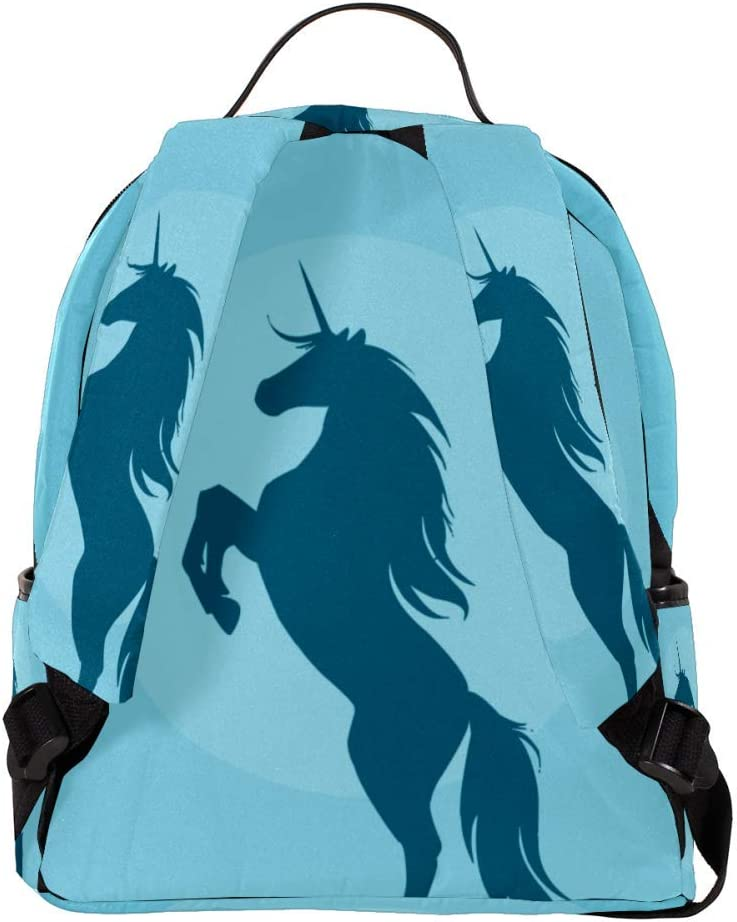 MAPOLO Laptop Backpack Blue Unicorn Casual Shoulder Daypack for Student School Bag Handbag Lightweight