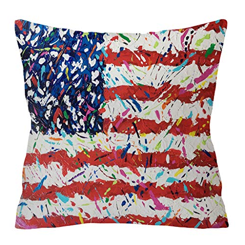 MONISE-honme Independence Day Gift God Bless America Linen Cushion Cover Throw Pillow Case Sofa 4Th of July Independence Day Embroidery Pillow Covers(K) Size -