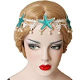 KingsCat Stylish Turquoise Starfish with Artificial Pearl Headband / Beach Hairpin