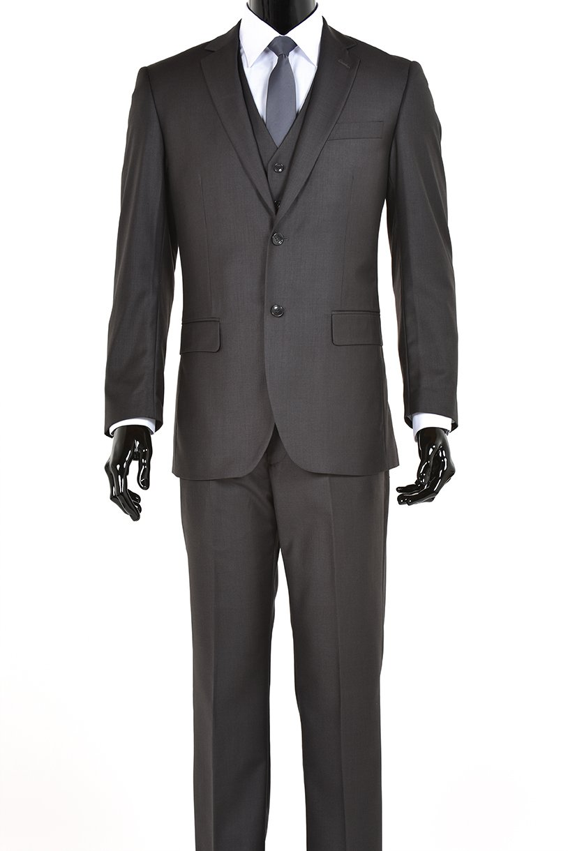 Elegant Charcoal Grey Two Button Three Piece Suit (36 Regular)