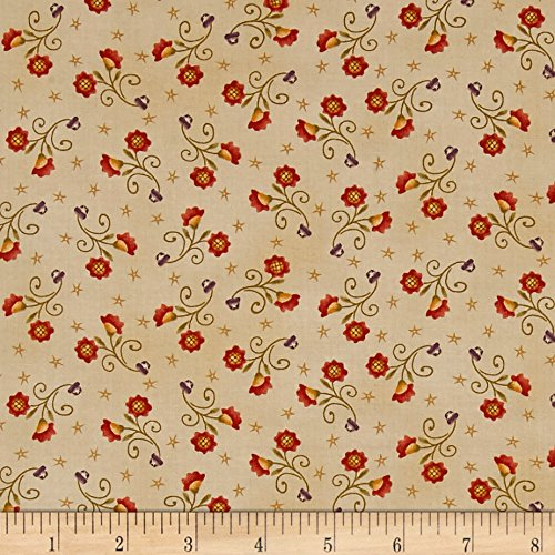 Cream Quilt Fabric (Autumn Song Tossed Sunflowers Cream Fabric By The Yard)