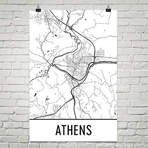 Athens Poster, Athens Art Print, Athens Wall Art, Athens Map, Athens City Map, Athens