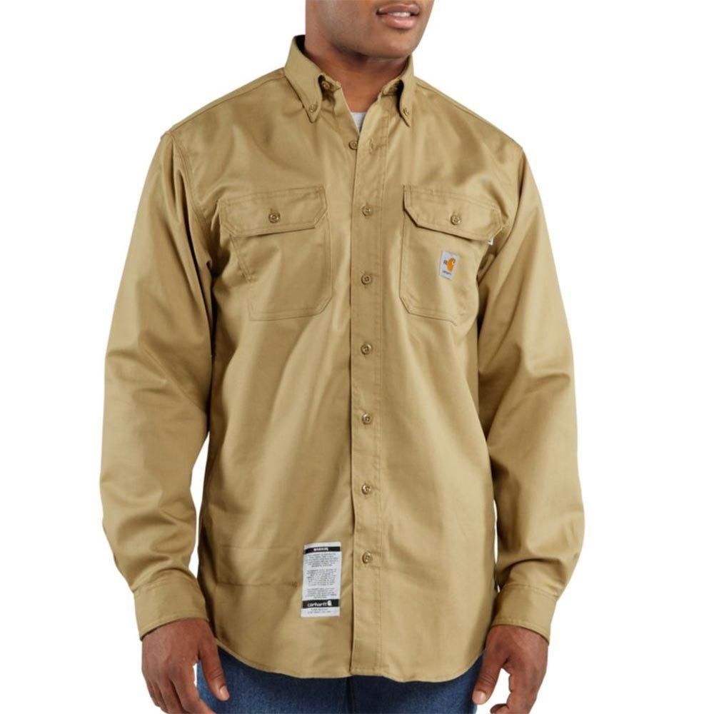 Carhartt Men's FRS160 Flame-Resistant Long Sleeve Twill Pocket Shirt - 3X-Large Regular - Khaki