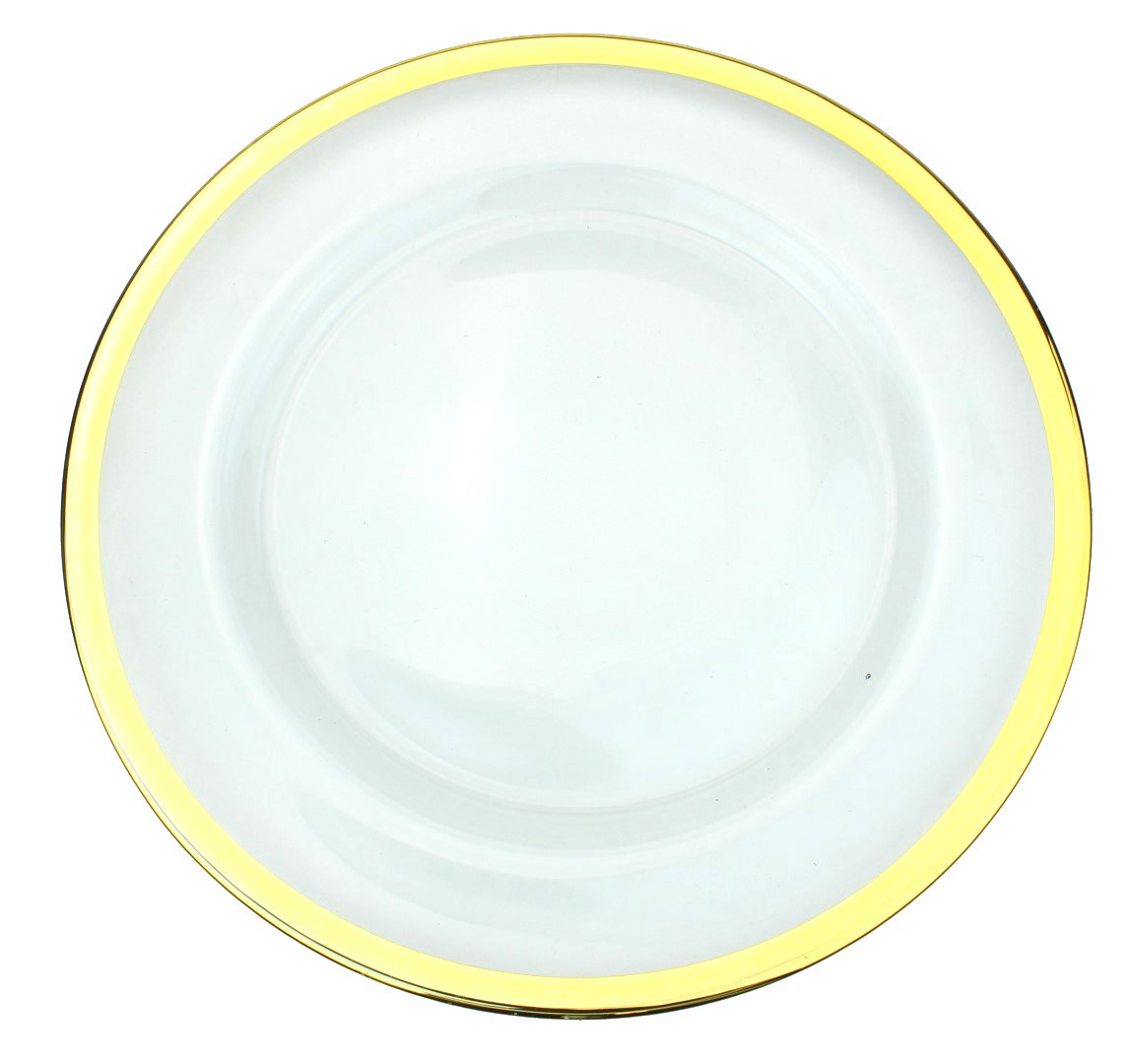 Clear Glass Charger 13 Inch Dinner Plate With Metallic Rim - Set of 4 - Gold Ms Lovely C120-25-1-gold