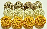 Decorative Spheres Natural, White, Yellow Rattan Medium-sized, Vase Filler Ornament Decoration Bowl Filler Kamboi Balls Hand Packed For Door, By Conserve Brand 12 Pcs, 8 CM - 3.5 inch