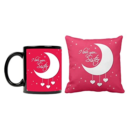 Funky Store Birthday Gifts For Sister I Love You Theam Ceramic Mug With Cushion