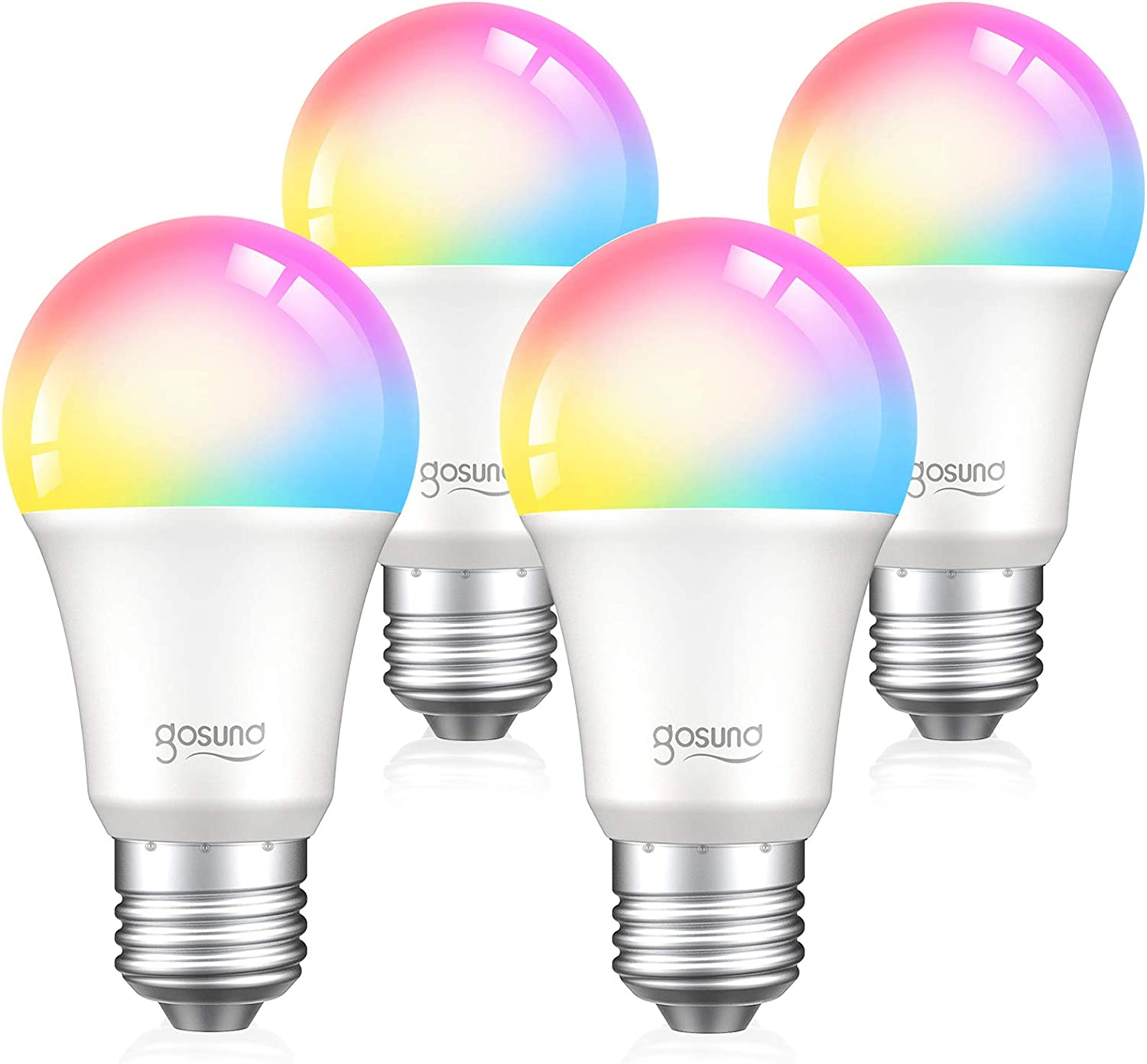 Smart Light Bulb Works with Alexa Google Home, Gosund E26 RGB Color Changing Light Bulb with App 8W A19 Dimmable Smart LED Bulb 75W Equivalent, 2.4GHz WiFi Only, No Hub Required 4 Pack