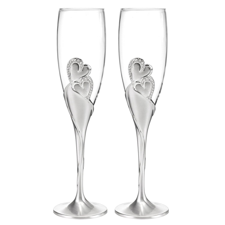 Hortense B. Hewitt Wedding Accessories Sparkling Love Champagne Flutes, Set of 2 10005