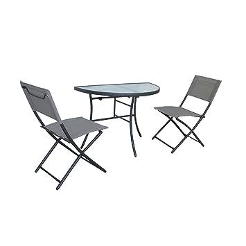 colourliving® Juego de mesa semicircular con 2 sillas ...