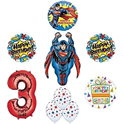 Mayflower Products Superman 3rd Birthday Party Supplies and Balloon Decorations