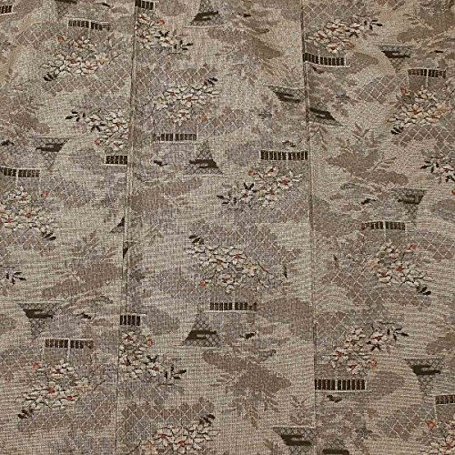 単衣 大島紬 花 茶 カジュアル 正絹 着物 きもの リサイクル レディース 90049609