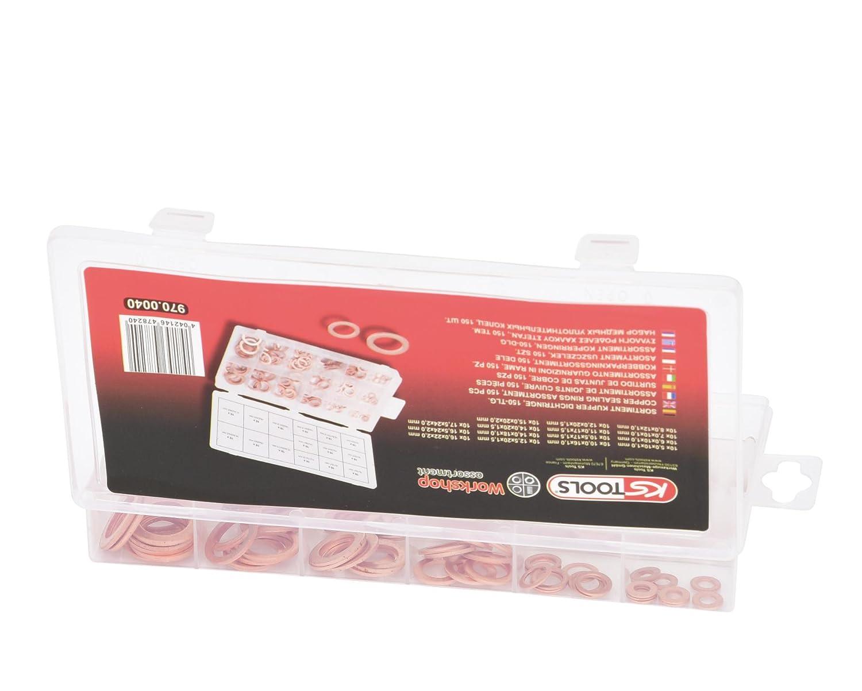 150x Joint D/'étanchéité Assortiment Set Cuivre Joints Huile Cuivre Anneaux Cuivre Disques Box