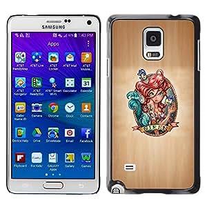 TopCaseStore / la caja del caucho duro de la cubierta de protección de la piel - Fairytale Siren Art Red Hair Drawing Character - Samsung Galaxy Note 4 SM-N910
