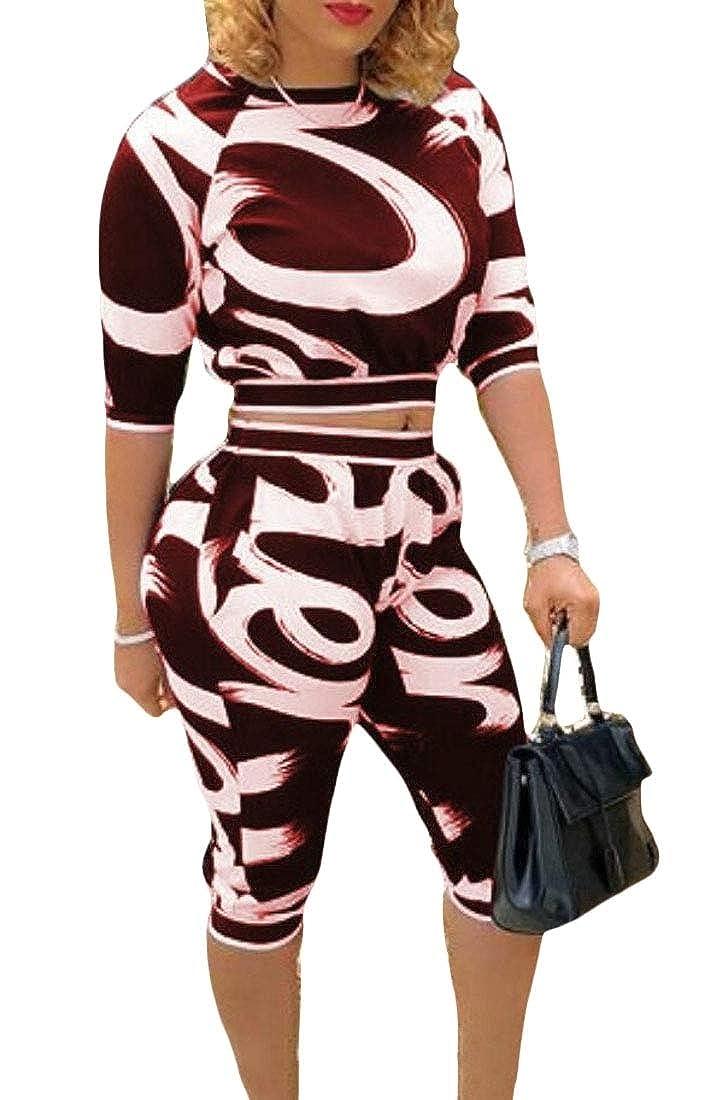 omniscient Women 2 Piece Outfit Print Short Sleeve Crop Top Shorts Sets Tracksuit Jumpsuits