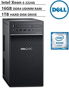 KKE Upgrades PowerEdge T40 Tower Server (T30 Updated Version), Intel Quad-Core Xeon E-2224G 3.5GHz, 16GB DDR4 ECC UDIMM Memory, 1TB 7200RPM HDD, DisplayPort, DVD-RW, No Operating System, Black