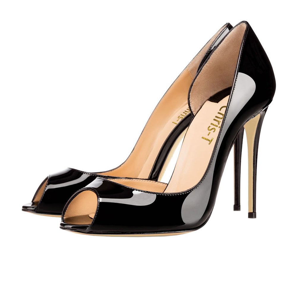 Chris-T Women Fashion D'Orsay Peep Toe with High Heel Stiletto Dress Party Pumps Size 5-15 US B078HZ58FF 11 B(M) US|Black/Red S0le(bottom)