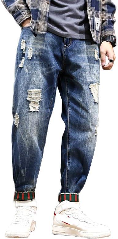 Vaqueros Rectos para Hombre Verano Tallas Grandes Pantalones ...