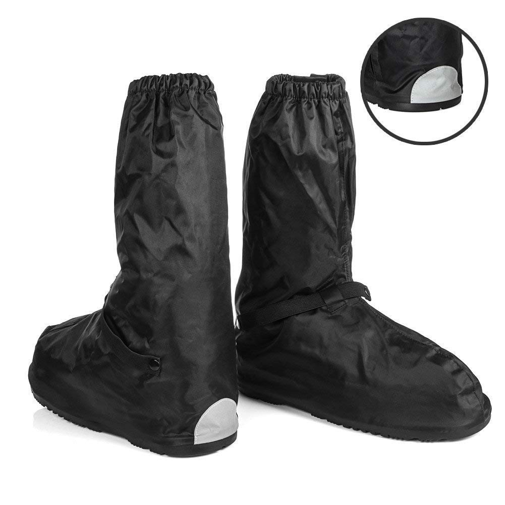 Anti-Slip Walking Boot Cover for Shoes Motorcycle Boots size Men 8.5-9.5 Women 10-11 with Reflective Heels and Sturdy Zippered Elastic Bands for Outdoor Hiking Camping Fishing - Black by Go Motorcycle Boot Covers