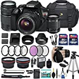 Canon EOS Rebel T6 DSLR Camera with EF-S 18-55mm f/3.5-5.6 IS II Lens + EF 75-300mm f/4-5.6 III + 2 Memory Cards + 2 Aux Lenses + 50'' Tripod + Accessories Bundle (25 Items)