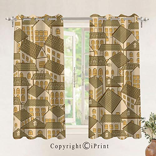 Blackout Window Curtain,Hand Drawn Village Town Houses Pattern with Pyramidal Roofs Decorative Home Decoration Thermal Insulated Room Darkening Drape/Drapery,W29.5 x L63 Inch,2 Panel,Sand Brown Marig