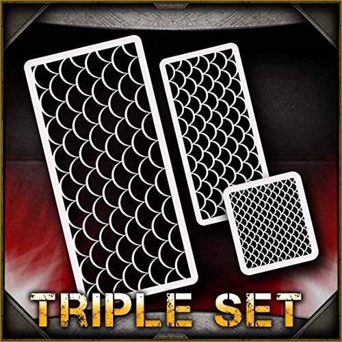 Fish Scales AirSick Airbrush Stencil Art Template - Reusable Multi-Layer Painting Patterns for Cars, Motorcycle, Tatoos, Walls, Cakes, T-Shirts, Hair, Scrapbooks Etc -