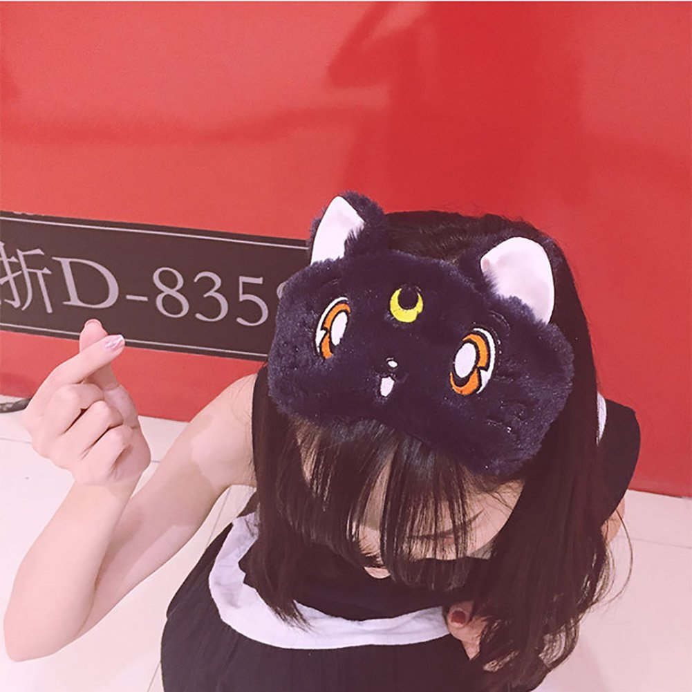 Fluffy Cat Face Sleep Eye Mask Moon Decor Eye Shade Blindfold for Home Travel Rest by Funbase (Image #3)