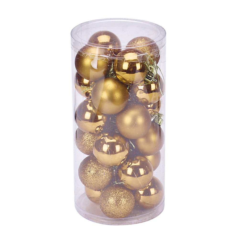24Pcs/Pack Christmas Tree Ball Hanging Plastic, Witspace Miniature Christmas Ornaments for Xmas Party (Gold, Diameter:30mm)