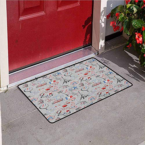 GloriaJohnson Paris Inlet Outdoor Door mat France Themed Image with French Flag Dogs Eiffel Tower Croissant Vintage City of Love Catch dust Snow and mud W23.6 x L35.4 Inch Multicolor
