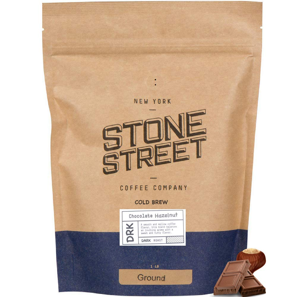 Stone Street Coffee Cold Brew Flavored Ground, Natural Chocolate Hazelnut Flavor, Coarse Grind, 1 LB Bag
