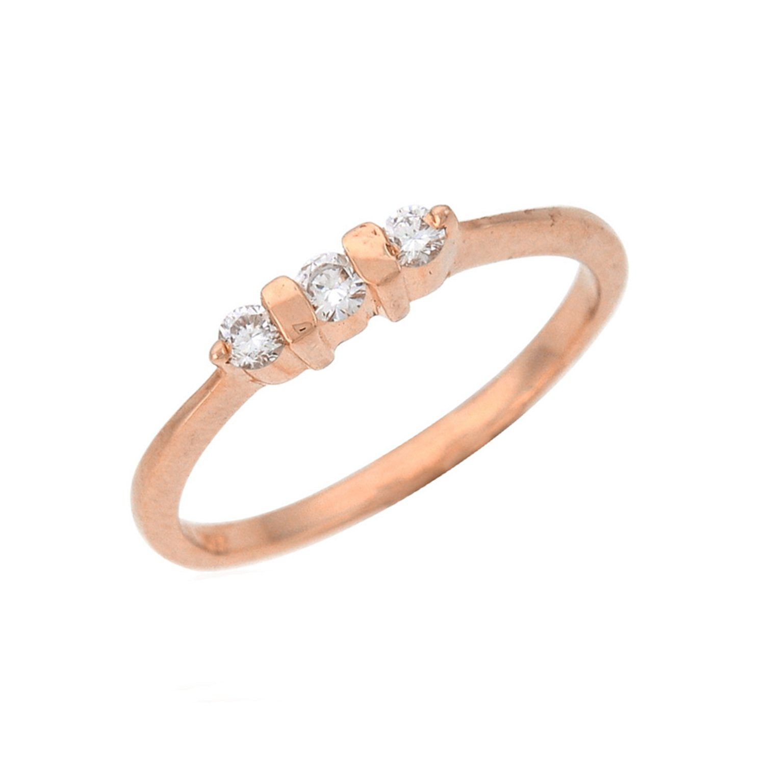 Silverraj Jewels Rose Gold Plated Round Simulated Diamond Studded Womens Fashion Ring Jewellery