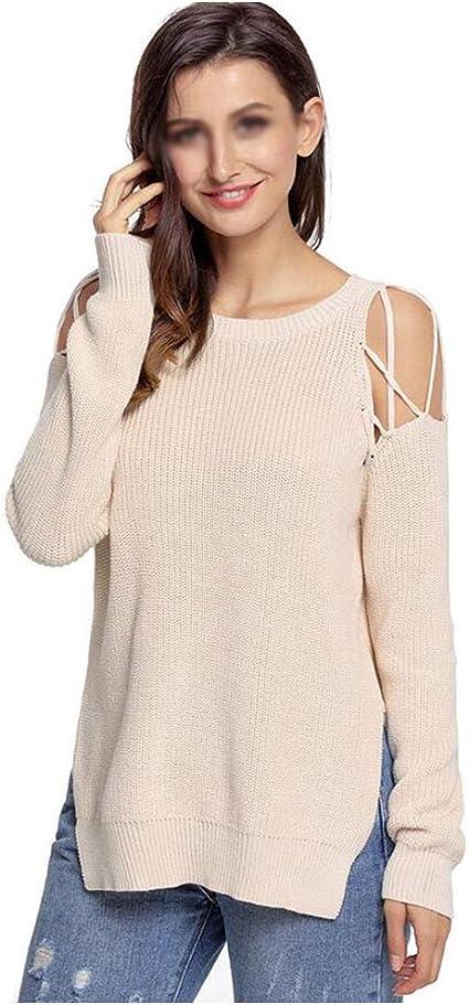 jersey Mujer Suéter Shirt Suelto Sección Media Larga Cuello ...