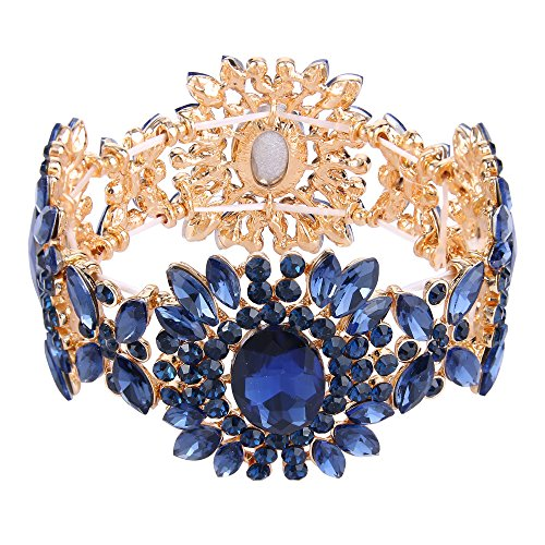 EVER FAITH Women's Austrian Crystal Bridal Flower Elastic Stretch Bracelet Navy Blue Gold-Tone - Austrian Crystal Flower