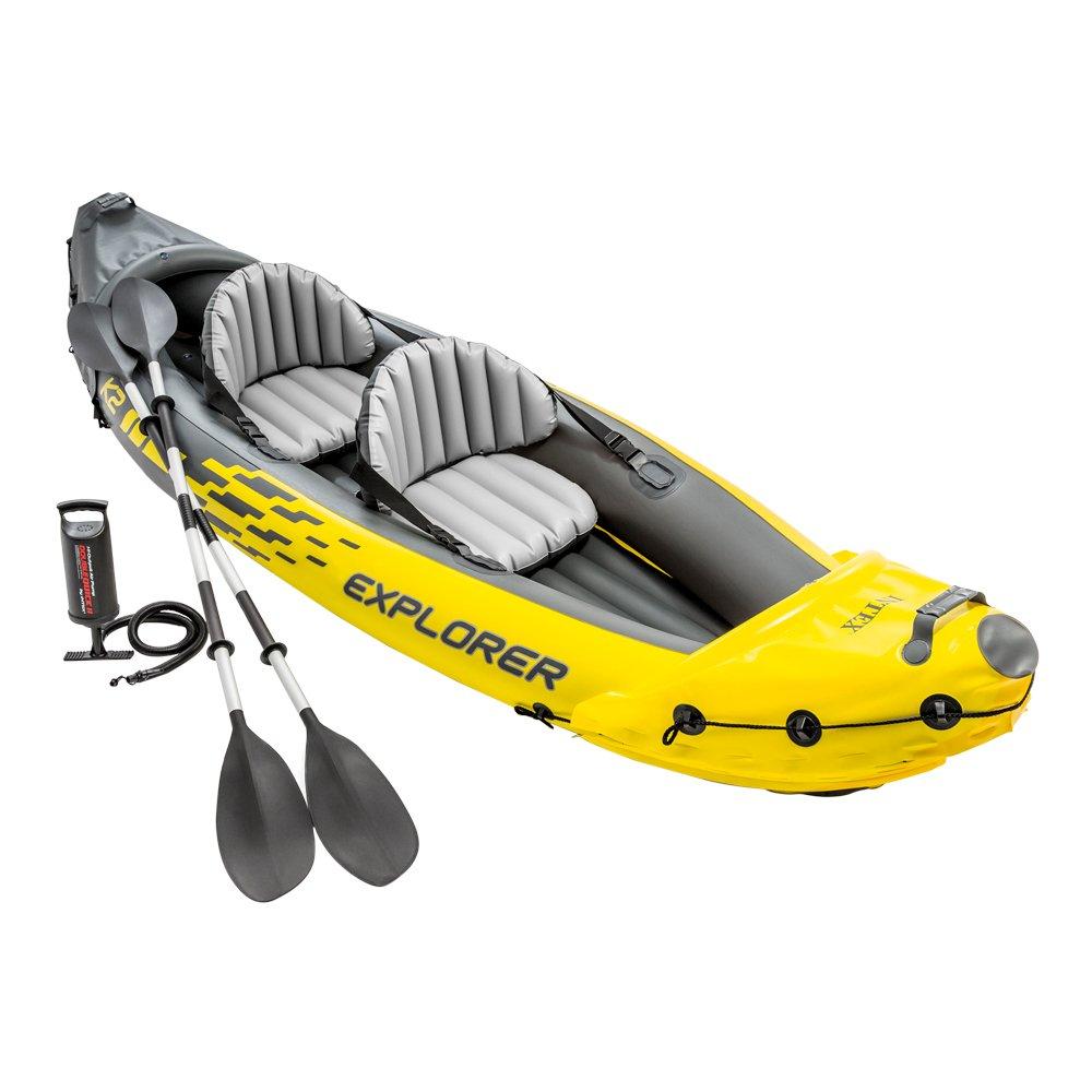 Canoa Kayak Intex 68307NP, Canotto Explorer K2 con Remi Alluminio, 2 Persone, Nero/Giallo, 312 x 91 x 51 cm