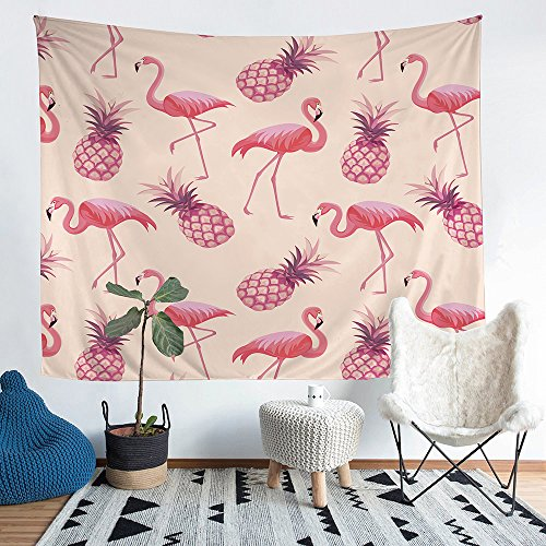 Series Tapestry Blanket (Home Furnishing pink Flamingo and pineapple series Tapestry Wall Hanging Sandy Beach Picnic Throw Rug Blanket Camping Tent Tapestry (11, 60X51inch))