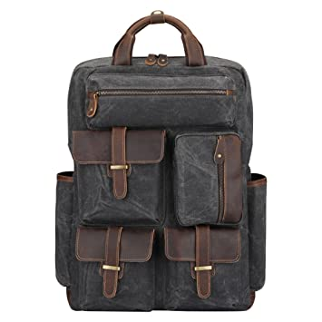 Amazon.com   S-ZONE Vintage Waxed Canvas Crazy Horse Leather Backpack for  Men Hiking Travel Waterproof Rucksack   Casual Daypacks 56c342e6cc