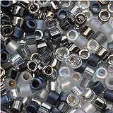Miyuki Delica Seed Beads Mix 11/0 Tuxedo Black White Silver 8 Grams